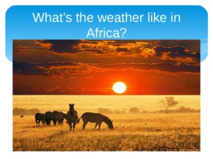 What's the weather like in Africa?