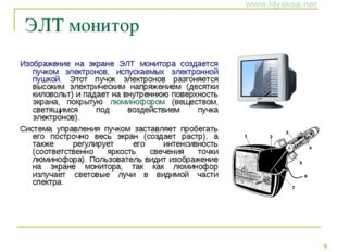 ЭЛТ монитор Изображение на экране ЭЛТ монитора создается пучком электронов,