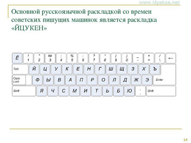 Основной русскоязычной раскладкой со времен советских пишущих машинок являетс...