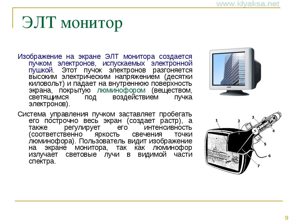 ЭЛТ монитор Изображение на экране ЭЛТ монитора создается пучком электронов,...