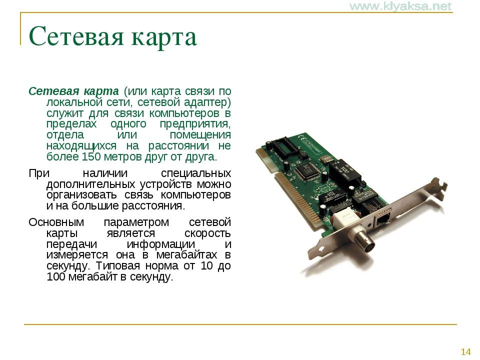 Сетевая карта Сетевая карта (или карта связи по локальной сети, сетевой адапт...