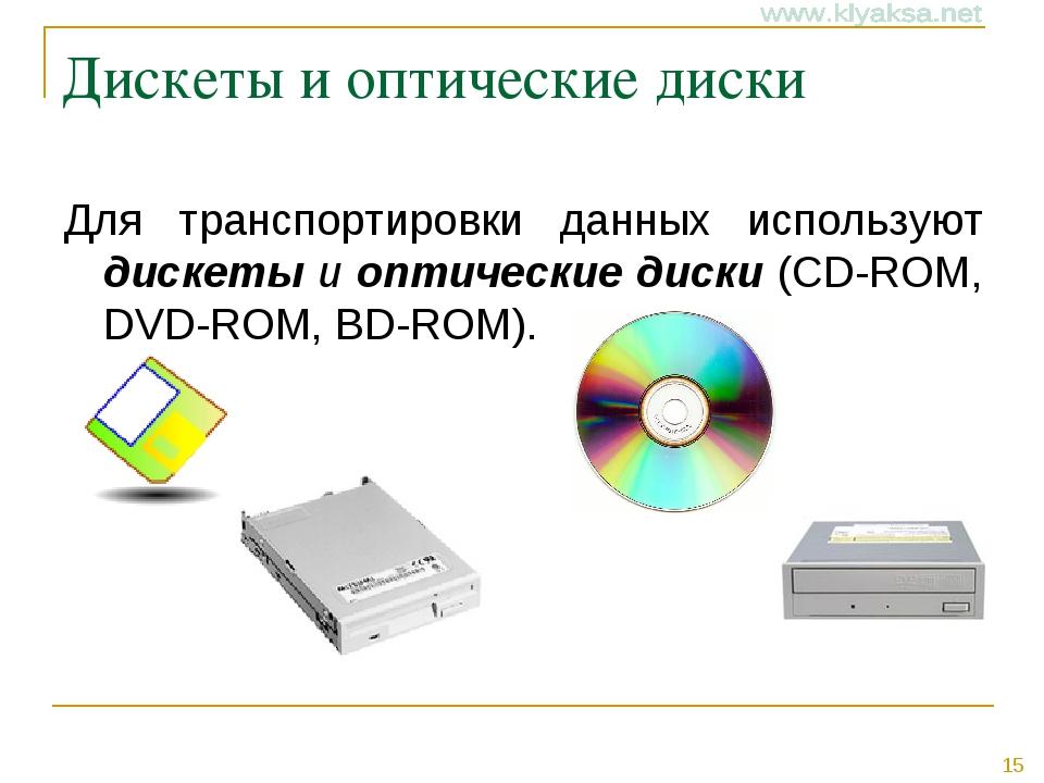 Дискеты и оптические диски Для транспортировки данных используют дискеты и оп...
