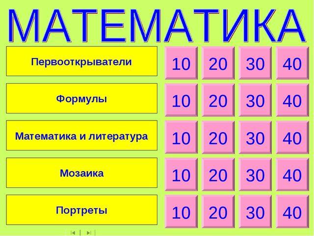 10 20 30 40 10 20 30 40 10 20 30 40 10 20 30 40 10 20 30 40 Первооткрыватели...