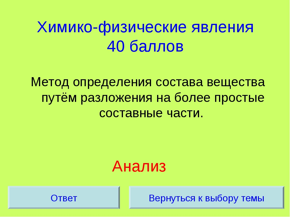 Химико-физические явления 40 баллов Метод определения состава вещества путём...