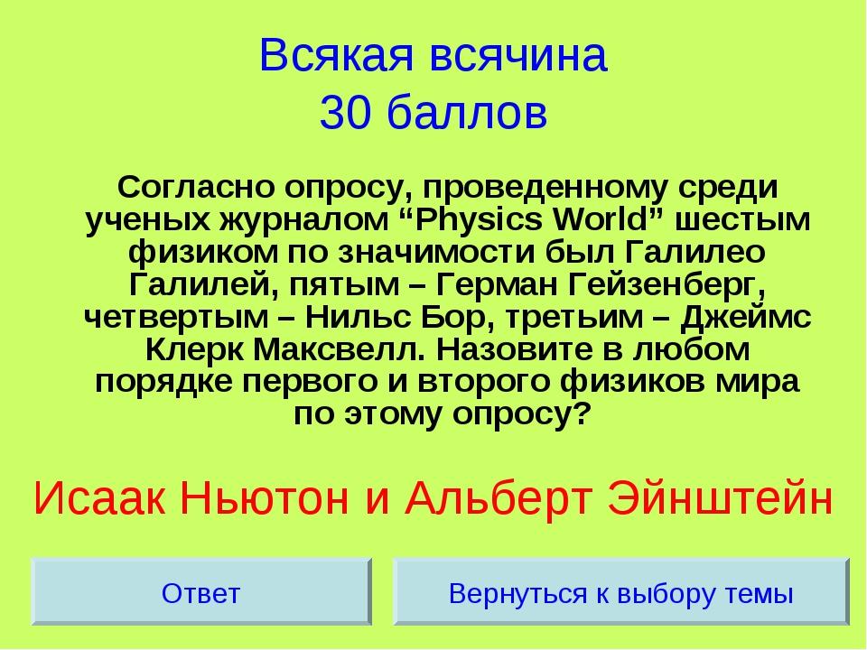 Всякая всячина 30 баллов Согласно опросу, проведенному среди ученых журналом...