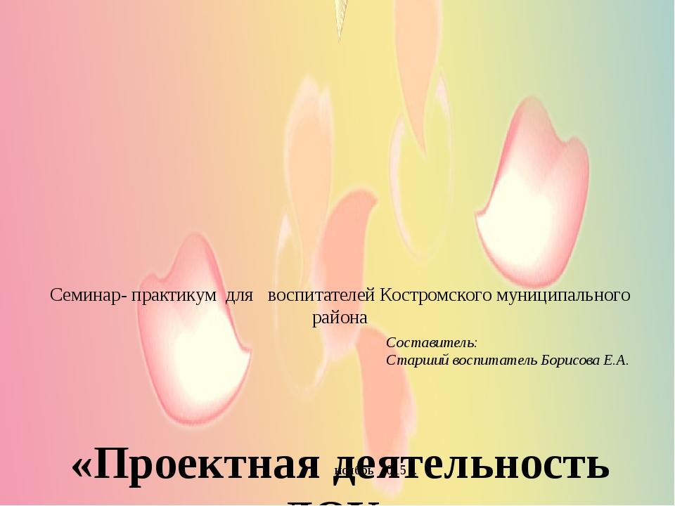 Семинар- практикум для воспитателей Костромского муниципального района «Прое...