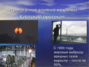 Антропогенное влияние на климат Киотский протокол С 1990 года мировые выбросы