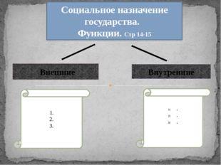 Социальное назначение государства. Функции. Стр 14-15 Внешние Внутренние 1.