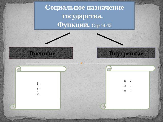 Социальное назначение государства. Функции. Стр 14-15 Внешние Внутренние 1....