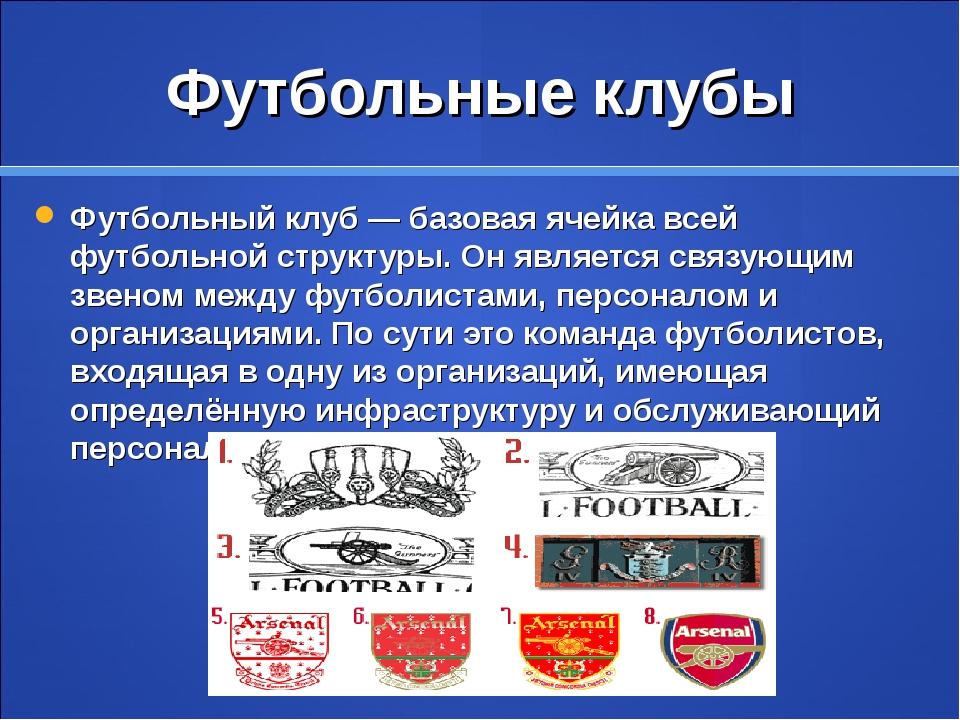 Футбольные клубы Футбольный клуб— базовая ячейка всей футбольной структуры....