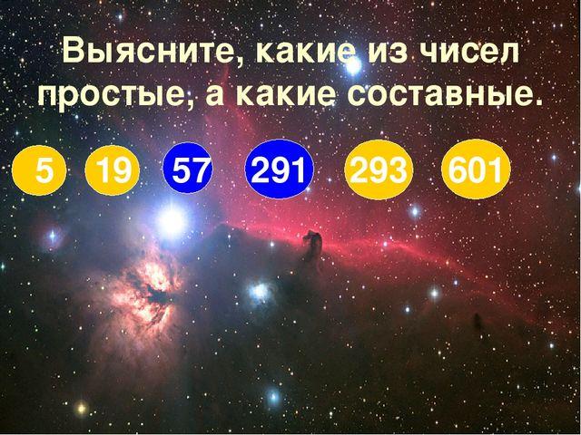 Выясните, какие из чисел простые, а какие составные. 5 19 57 291 293 601