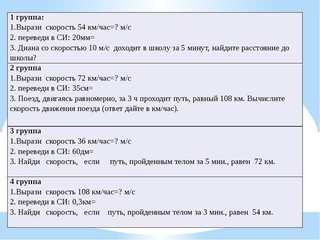 1 группа: 1.Вырази скорость54 км/час=? м/с 2. переведи в СИ:20мм= 3. Диана со...