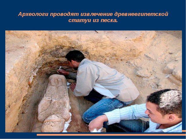 Археологи проводят извлечение древнеегипетской статуи из песка.