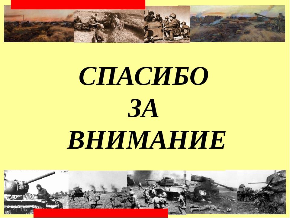 СПАСИБО ЗА ВНИМАНИЕ КУРСКАЯ БИТВА. 5 июля-23 августа 1943 г. Матюшкина А.В....
