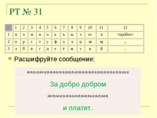 РТ № 31 Расшифруйте сообщение: (9,3) (1,3) (12,1) (5,3) (5,1) (2,3) (2,2) (5,