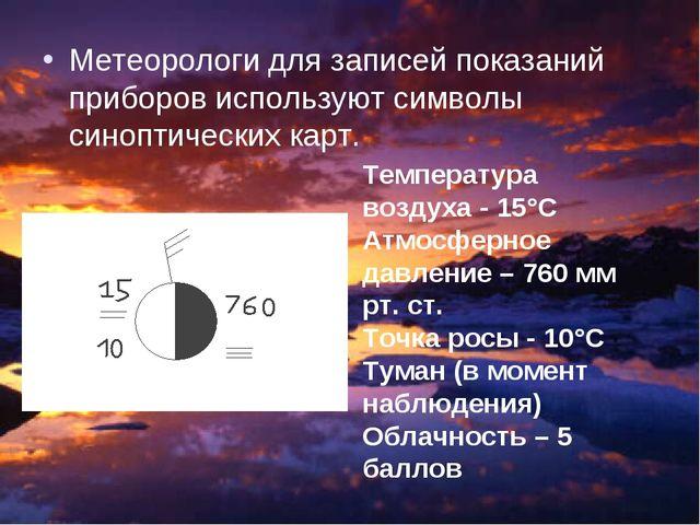 Метеорологи для записей показаний приборов используют символы синоптических к...