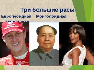 Три большие расы Европеоидная Монголоидная Негроидная