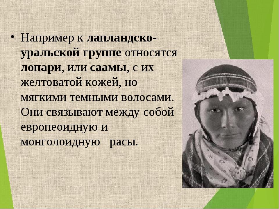 Например к лапландско-уральской группе относятся лопари, или саамы, с их желт...