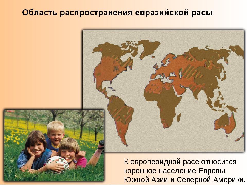 К европеоидной расе относится коренное население Европы, Южной Азии и Северно...