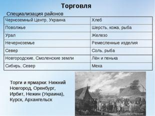 Торговля Специализация районов Торги и ярмарки: Нижний Новгород, Оренбург, И