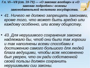 Гл. VI—VII (ст. 39-79) — «О законах вообще» и «О законах подробно»: основы за