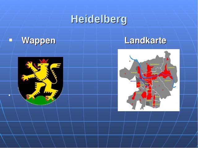 Heidelberg Landkarte Wappen