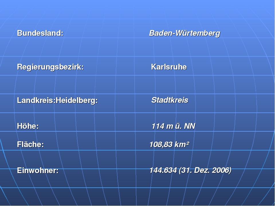 Bundesland: Baden-Würtemberg Regierungsbezirk: Karlsruhe Landkreis:Heidelbe...