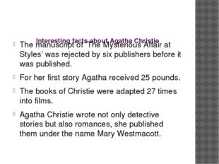 Interesting facts about Agatha Christie The manuscript of 'The Mysterious Af