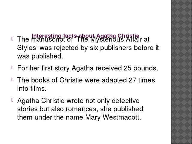 Interesting facts about Agatha Christie The manuscript of 'The Mysterious Af...