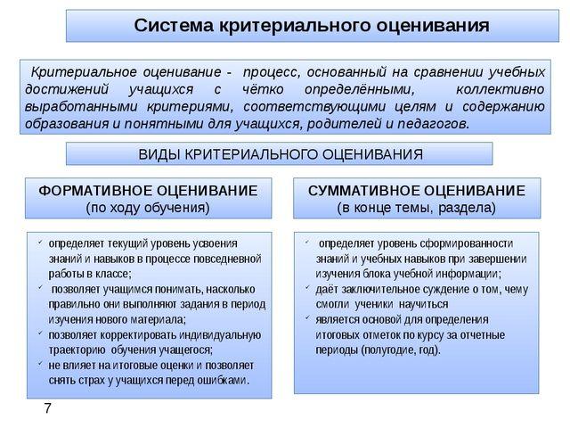 Система критериального оценивания определяет уровень сформированности знаний...