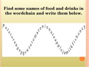 Find some names of food and drinks in the wordchain and write them below.