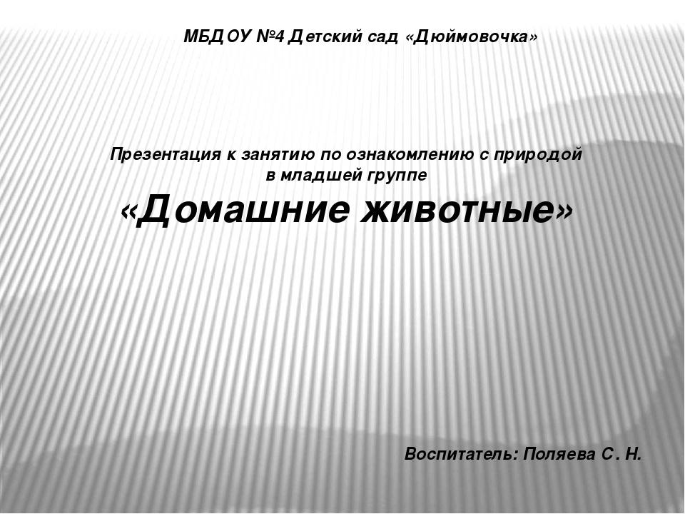 МБДОУ №4 Детский сад «Дюймовочка» Презентация к занятию по ознакомлению с при...