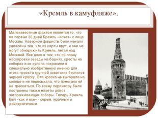 «Кремль в камуфляже». Малоизвестным фактом является то, что на первые 30 дней