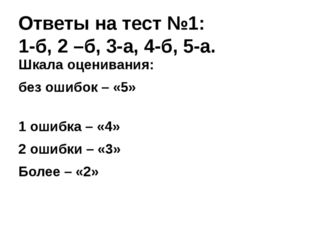 Ответы на тест №1: 1-б, 2 –б, 3-а, 4-б, 5-а. Шкала оценивания: без ошибок – «