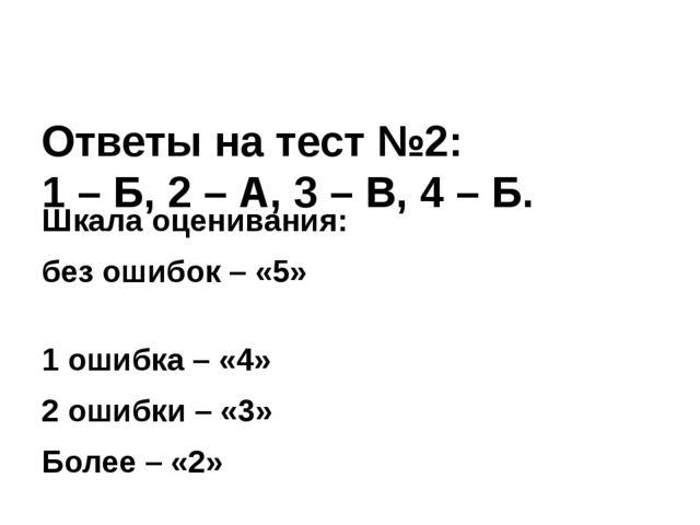 Ответы на тест №2: 1 – Б, 2 – А, 3 – В, 4 – Б. Шкала оценивания: без ошибок...