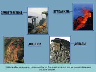 Катастрофы природные, насколько бы не были они крупные, все же несопоставимы