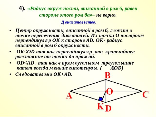4). «Радиус окружности, вписанной в ромб, равен стороне этого ромба»– не верн...