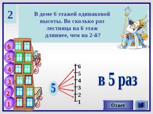 2 В доме 6 этажей одинаковой высоты. Во сколько раз лестница на 6 этаж длинне