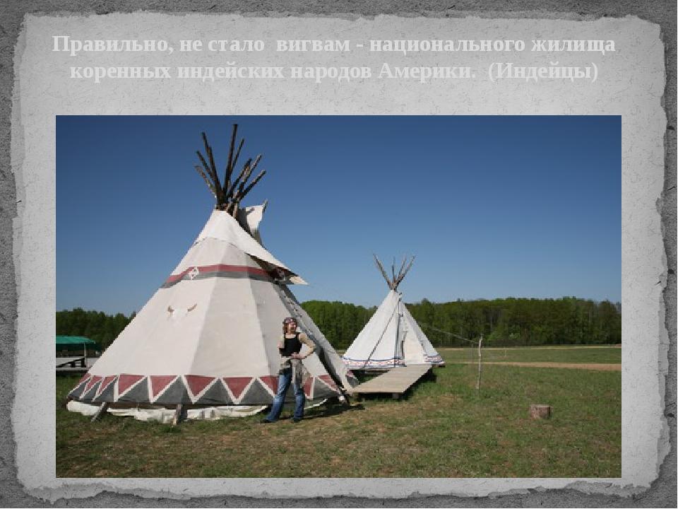Правильно, не стало вигвам - национального жилища коренных индейских народов...