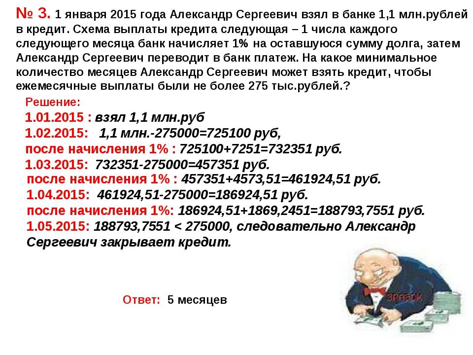 № 3. 1 января 2015 года Александр Сергеевич взял в банке 1,1 млн.рублей в кре...