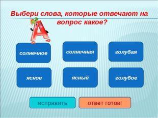 Выбери слова, которые отвечают на вопрос какое? солнечное ясное голубое ясный