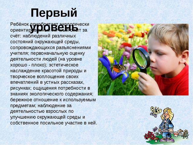 Первый уровень Ребёнок приобретает экологически ориентированный личный опыт з...