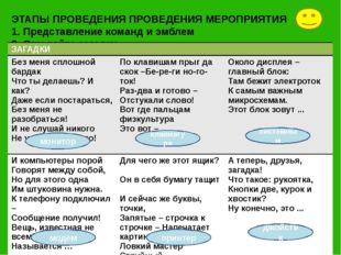 ЭТАПЫ ПРОВЕДЕНИЯ ПРОВЕДЕНИЯ МЕРОПРИЯТИЯ 1. Представление команд и эмблем 2. О