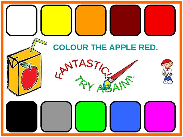 COLOUR THE APPLE RED.