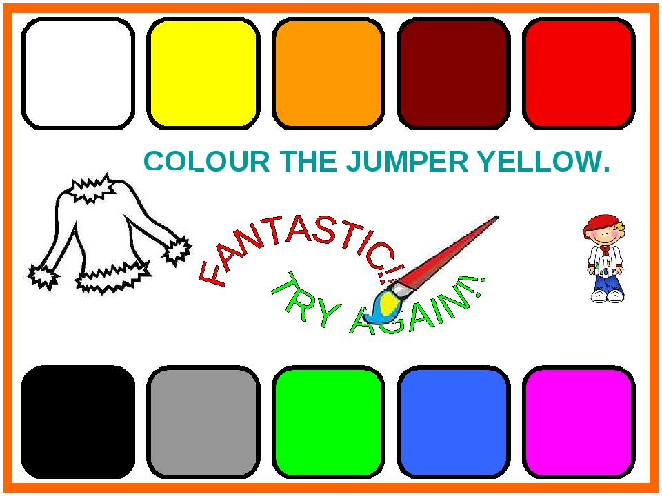 COLOUR THE JUMPER YELLOW.