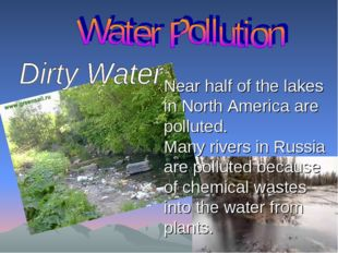 Near half of the lakes in North America are polluted. Many rivers in Russia a