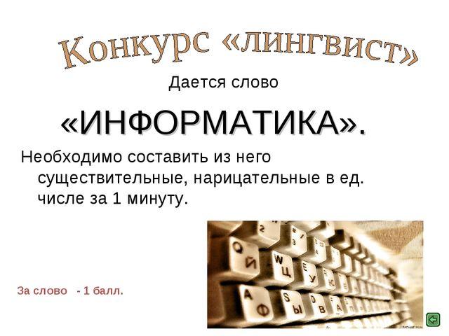 Дается слово «ИНФОРМАТИКА». Необходимо составить из него существительные, на...
