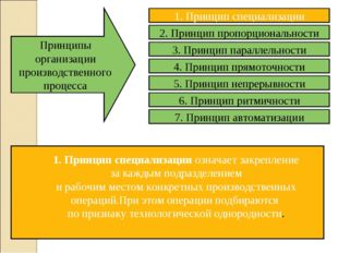Принципы организации производственного процесса 1. Принцип специализации озна