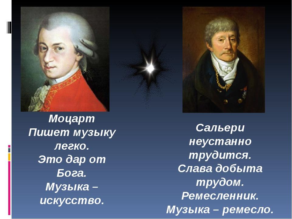 Моцарт Пишет музыку легко. Это дар от Бога. Музыка – искусство. Сальери неуст...