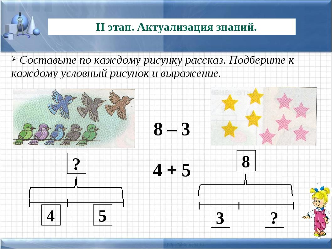 8 – 3 4 + 5 II этап. Актуализация знаний. 8 Составьте по каждому рисунку расс...
